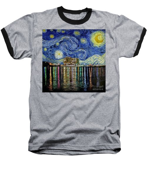 Starry Night In Destin Baseball T-Shirt by Walt Foegelle