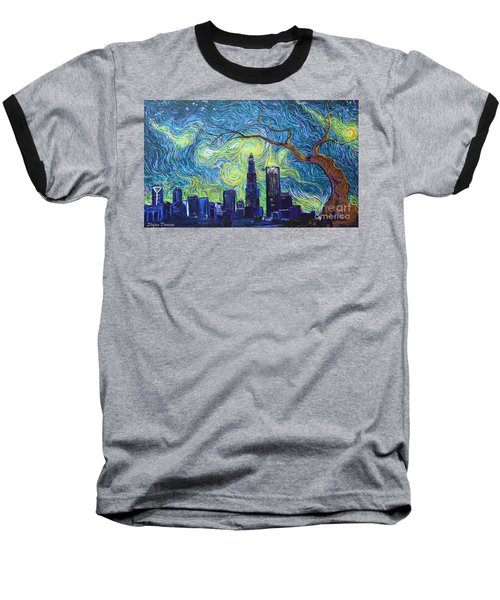 Starry Night Over The Queen City Baseball T-Shirt