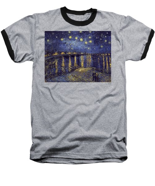Baseball T-Shirt featuring the painting Starry Night Over The Rhone by Van Gogh