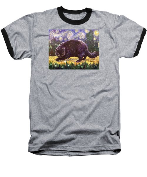 Baseball T-Shirt featuring the painting Starry Night Stroll by Laura Aceto