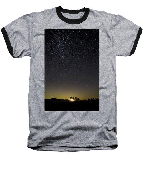 Starry Sky Over Virginia Farm Baseball T-Shirt