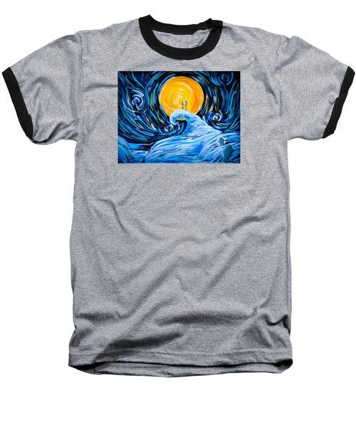 Starry Spiral Hill Night Baseball T-Shirt