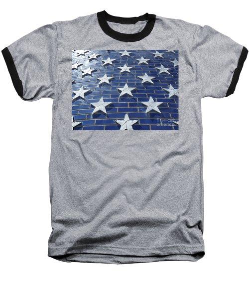 Stars On Blue Brick Baseball T-Shirt