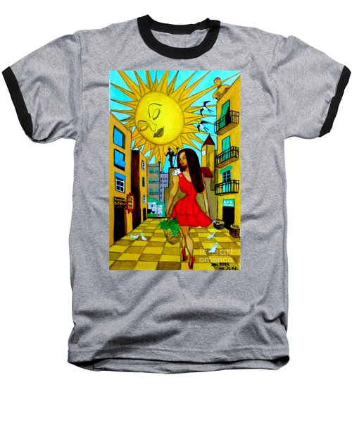 Baseball T-Shirt featuring the painting Starting A New Day by Don Pedro De Gracia