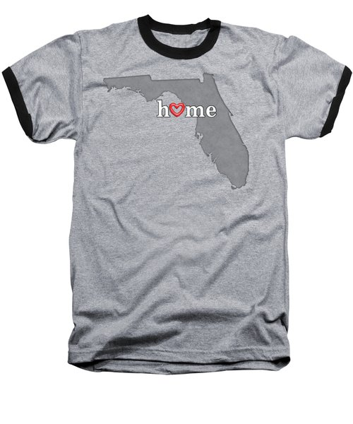 State Map Outline Florida With Heart In Home Baseball T-Shirt