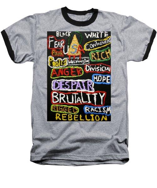 State Of America Baseball T-Shirt by Darrell Black