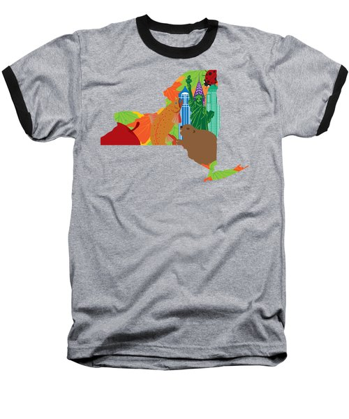 State Of New York Official Map Symbols Baseball T-Shirt