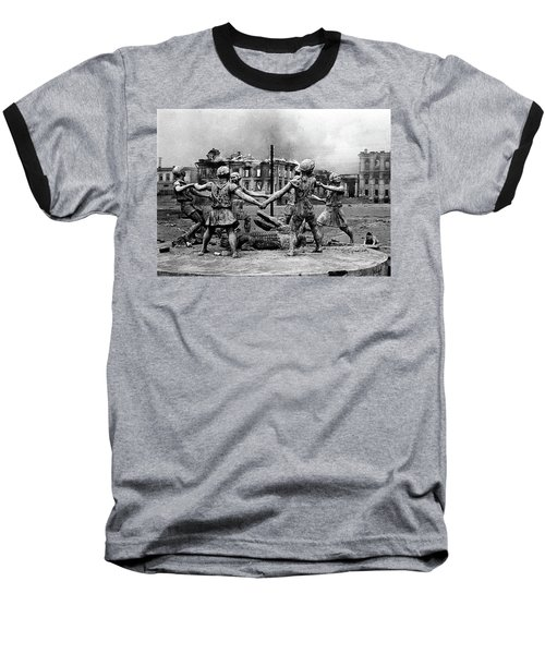 Statue Of Children After Nazi Airstrikes Center Of Stalingrad 1942 Baseball T-Shirt