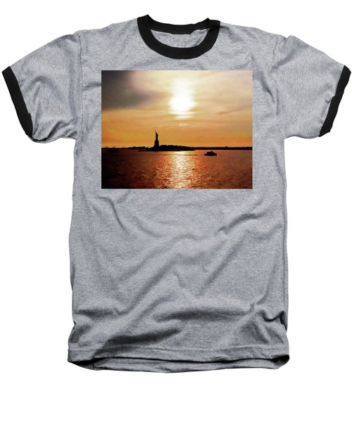 Statue Of Liberty At Sunset Baseball T-Shirt