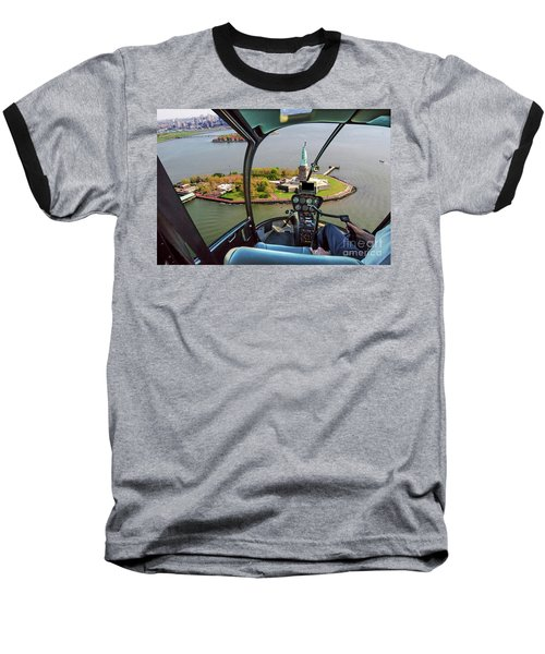 Statue Of Liberty Helicopter Baseball T-Shirt