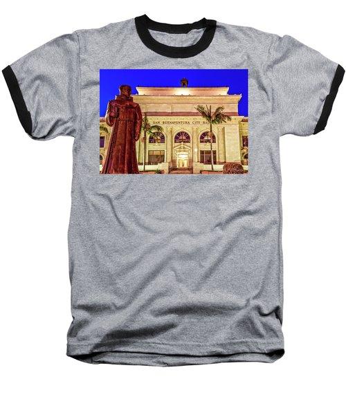 Baseball T-Shirt featuring the photograph Statue Of Saint Junipero Serra In Front Of San Buenaventura City Hall by John A Rodriguez