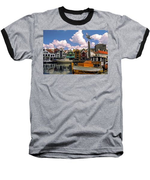 Stavanger Harbor Baseball T-Shirt by Sally Weigand