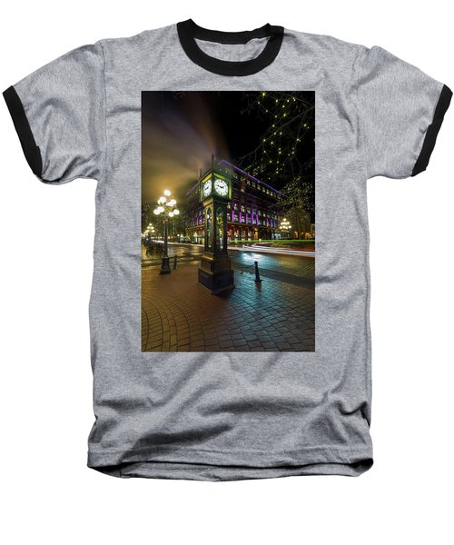 Steam Clock In Gastown Vancouver Bc At Night Baseball T-Shirt