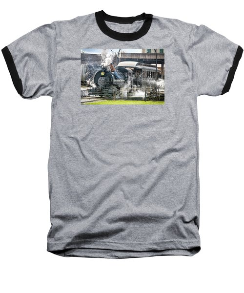 Steam Engine #30 Baseball T-Shirt by Scott Hansen