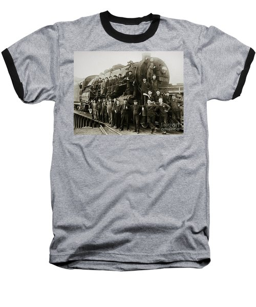 Steam Engine 351 On Turntable Coxton Yards Coxton Pennsylvania Early 1900s Baseball T-Shirt
