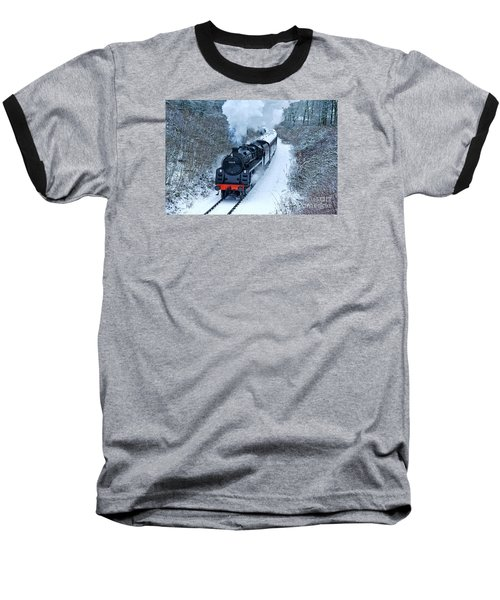 Steam Locomotive 73129 In Snow Baseball T-Shirt
