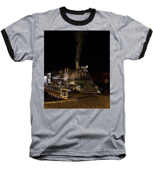 Locomotive And Coal Tender On A Turntable Of The Durango And Silverton Narrow Gauge Railroad Baseball T-Shirt by Carol M Highsmith