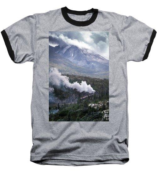 Steam Locomotive In White Pass Baseball T-Shirt