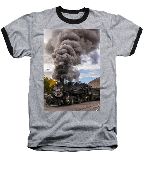 Baseball T-Shirt featuring the photograph Steam Locomotive by Jerry Cahill
