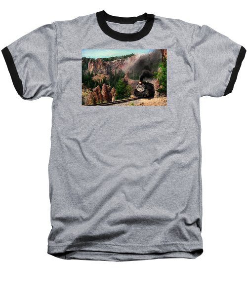 Baseball T-Shirt featuring the photograph Steam Through The Rock Formations by Ken Smith