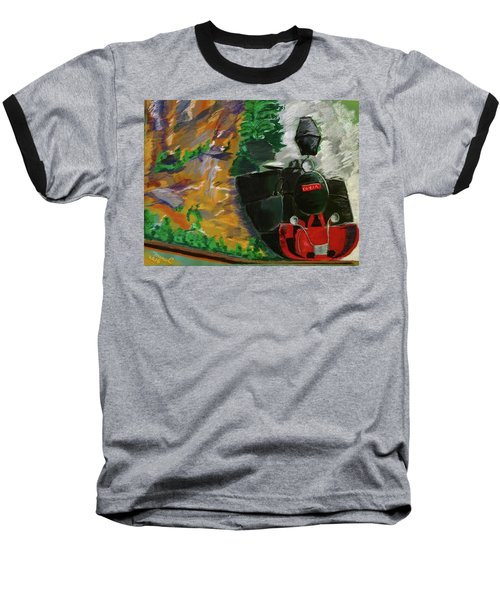 Steam Train Baseball T-Shirt by Manuela Constantin