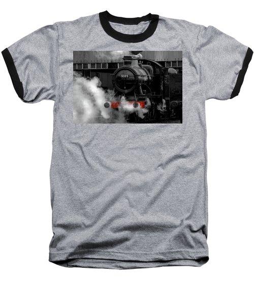 Steam Train Selective Colour Baseball T-Shirt by Ken Brannen