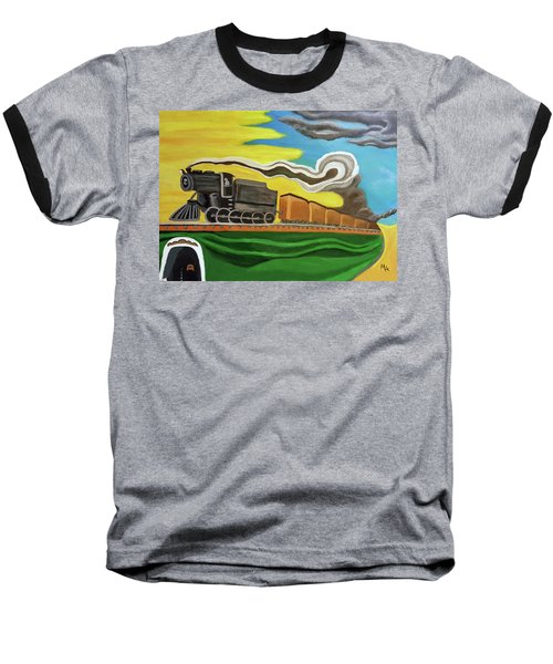 Baseball T-Shirt featuring the painting Steaming West Bound by Margaret Harmon