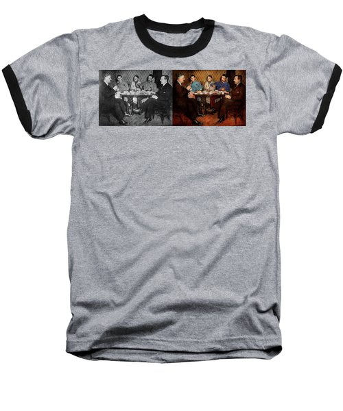 Baseball T-Shirt featuring the photograph Steampunk - Bionic Three Having Tea 1917 - Side By Side by Mike Savad