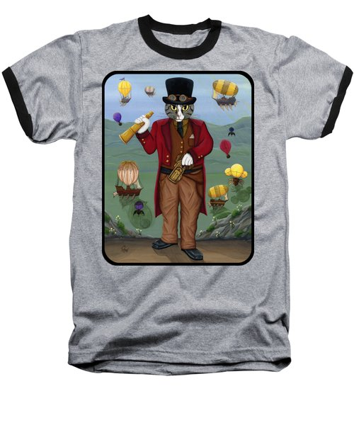 Baseball T-Shirt featuring the painting Steampunk Cat Guy - Victorian Cat by Carrie Hawks