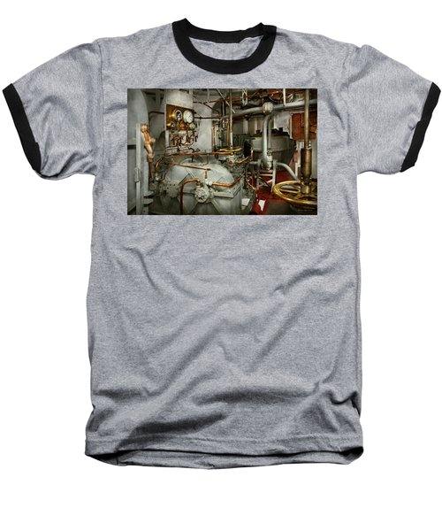Baseball T-Shirt featuring the photograph Steampunk - In The Engine Room by Mike Savad