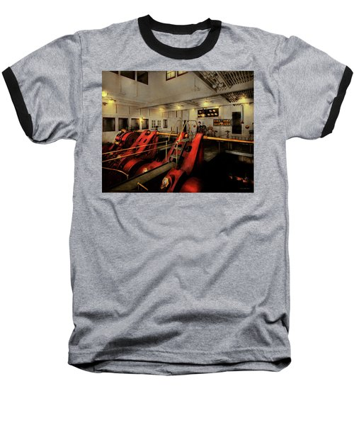 Baseball T-Shirt featuring the photograph Steampunk - Man The Controls 1908 by Mike Savad