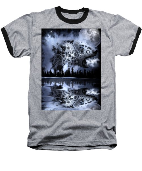 Steampunk Polar Bear Landscape Baseball T-Shirt