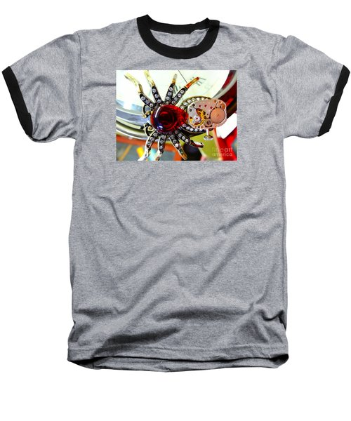 Steampunk Spider Jewel Baseball T-Shirt by Justin Moore