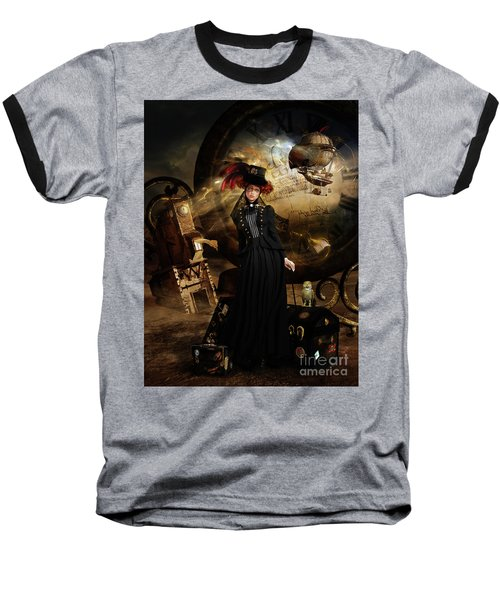 Baseball T-Shirt featuring the digital art Steampunk Time Traveler by Shanina Conway