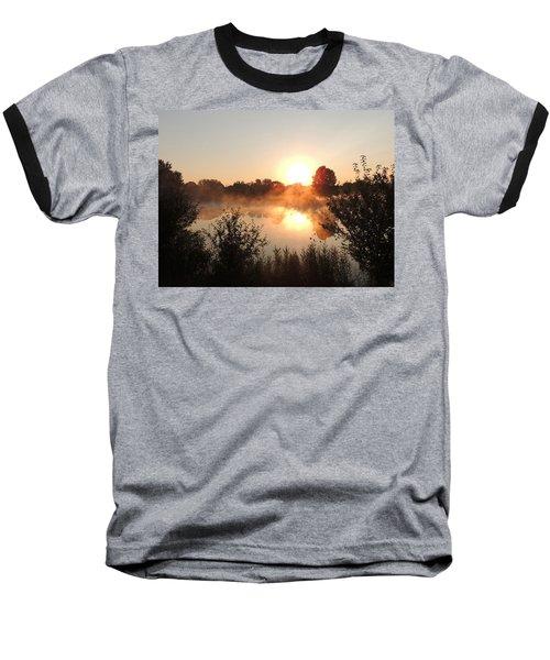 Steamy Morning Baseball T-Shirt by Teresa Schomig