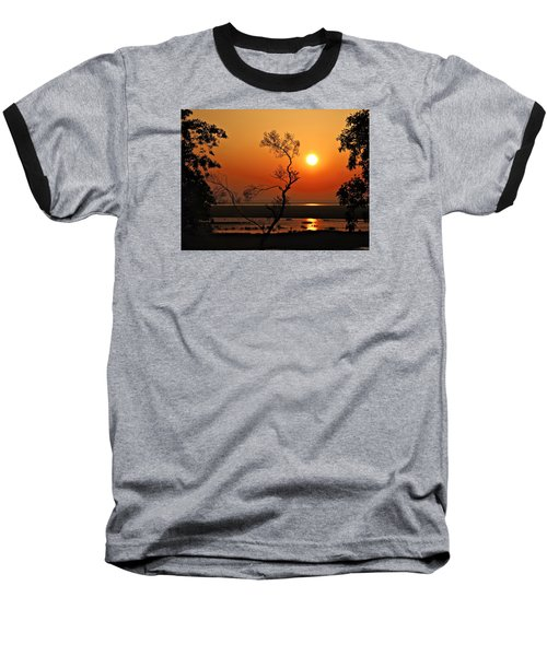 Steamy Summer Sunrise Baseball T-Shirt by Laura Ragland