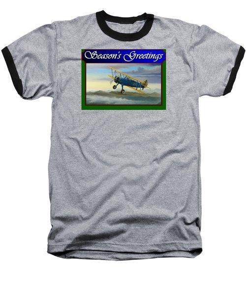 Stearman Christmas Card Baseball T-Shirt by Stuart Swartz