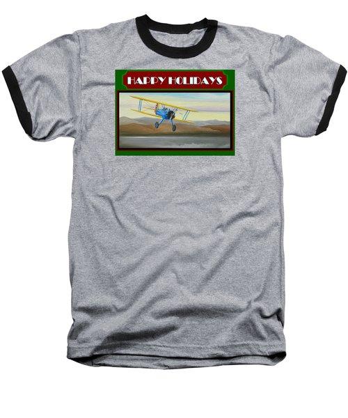 Stearman Morning Flight Christmas Card Baseball T-Shirt by Stuart Swartz