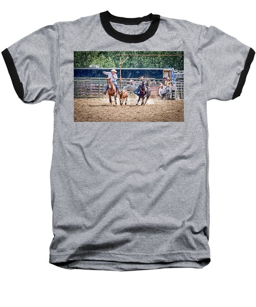 Baseball T-Shirt featuring the photograph Steer Wrestling With An Audience by Darcy Michaelchuk
