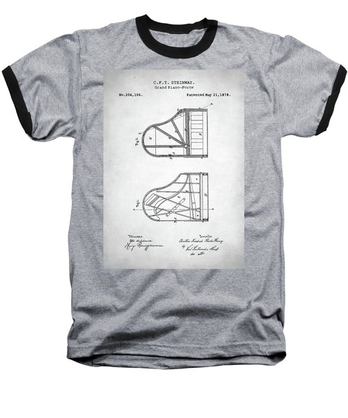 Steinway Grand Piano Patent Baseball T-Shirt by Taylan Apukovska