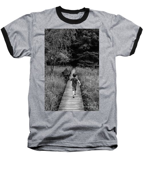 Baseball T-Shirt featuring the photograph Stepping Into Adventure - D009927-bw by Daniel Dempster