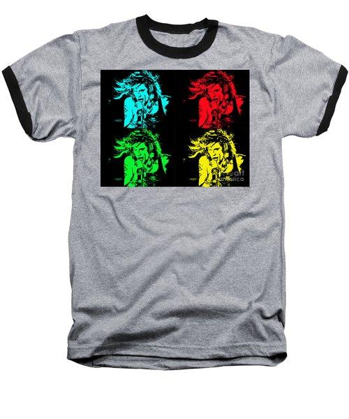 Steven Tyler Pop Art Baseball T-Shirt by Traci Cottingham