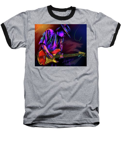 Baseball T-Shirt featuring the painting Stevie Ray Vaughan by DC Langer