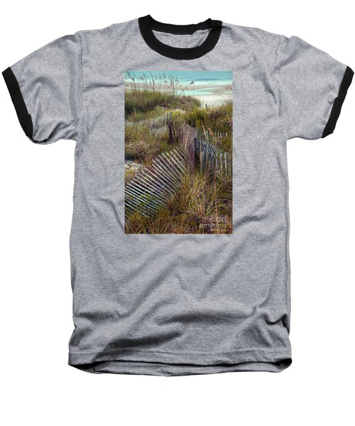 Baseball T-Shirt featuring the photograph Stick Fence Ocean by Linda Olsen