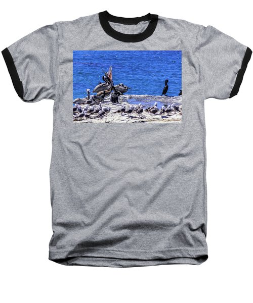 Pelican Sticking His Neck Out Baseball T-Shirt