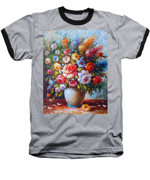 Still Life Colourful Flowers In Bloom Baseball T-Shirt