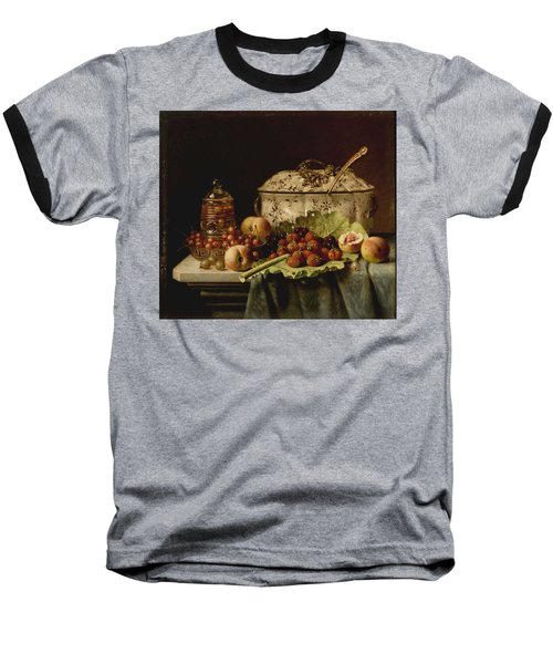 Still Life  Fruit And Dishes  Late 19th Century Oil On Panel Gottfried Schultz  German  1842  1919 Baseball T-Shirt