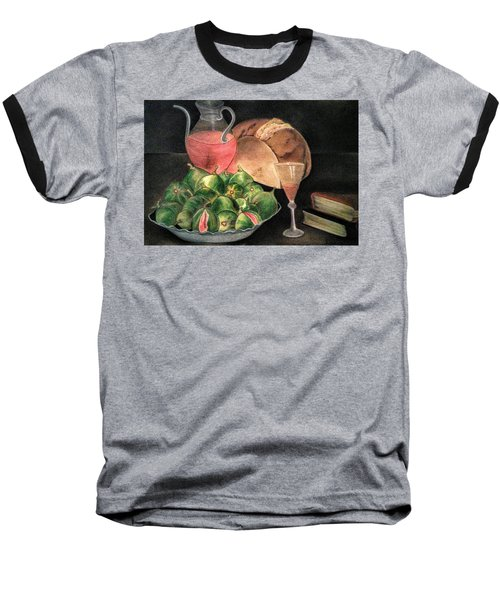 Still Life Of Figs, Wine, Bread And Books Baseball T-Shirt