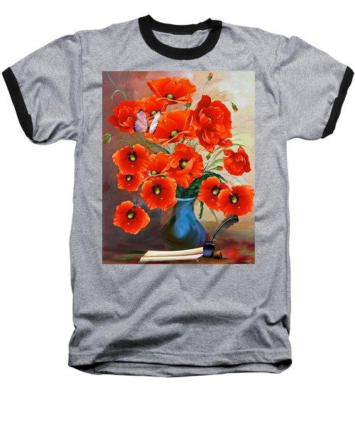 Still Life Poppies Baseball T-Shirt