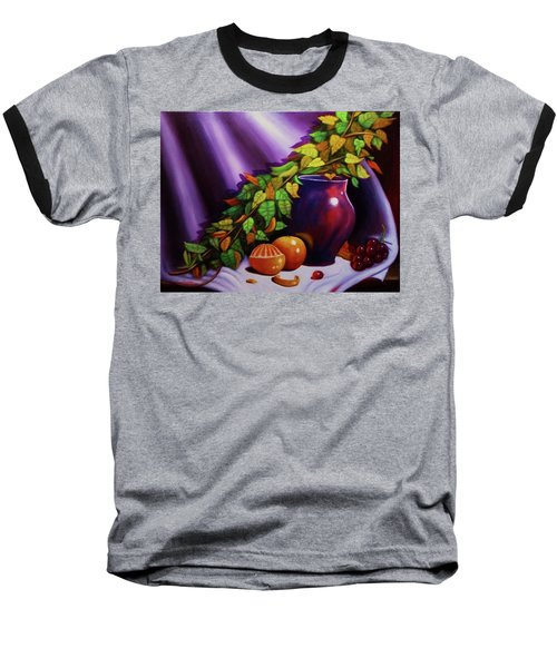 Still Life W/purple Vase Baseball T-Shirt by Gene Gregory